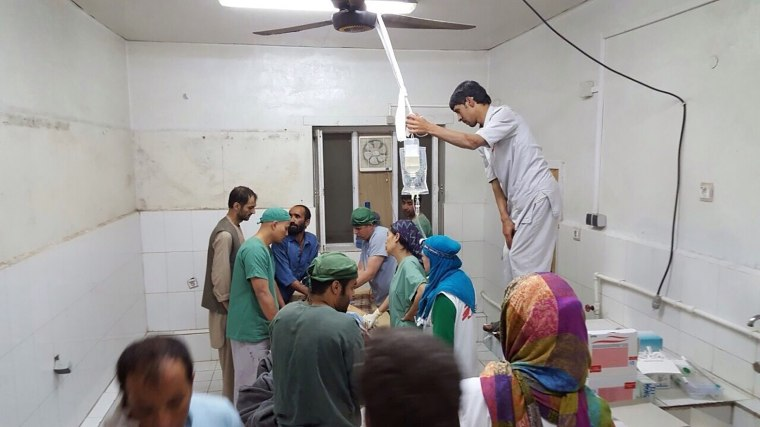 Doctors Without Borders (MSF) staff are seen during a surgery after a U.S. airstrike on MSF hospital in Kunduz, Afghanistan on Oct. 03, 2015. (Photo by MSF/Pool/Anadolu Agency/Getty)