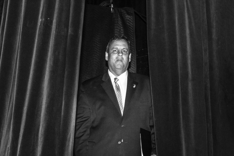 New Jersey Gov. Chris Christie waiting backstage before speaking at the Freedom Summit, Jan. 24, 2015, in Des Moines, Iowa. (Photo by Mark Peterson/Redux for MSNBC)