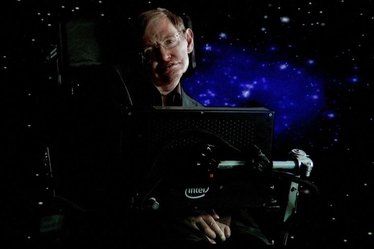 Scientist Stephen Hawking speaks via satellite during an event on Jan. 14, 2010 in Pasadena, Calif. (Photo by Frederick M. Brown/Getty)