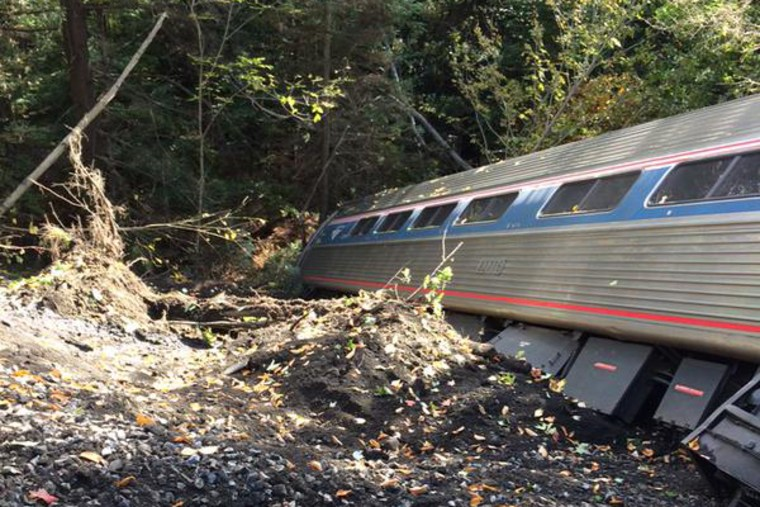 An Amtrak train derailed Friday morning in Vermont, state police told NBC News. (Courtesy of Brian Bell)