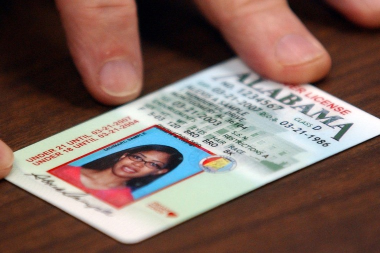 A sample of an Ala. drivers license is seen in Montgomery, Ala. (Photo by Dave Martin/AP)