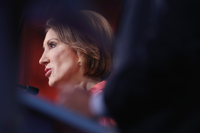 Republican presidential candidate Carly Fiorina fields a question during a presidential forum on Aug. 6, 2015 in Cleveland, OH. (Photo by Scott Olson/Getty)