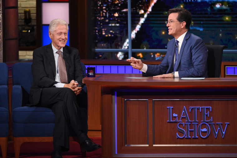 President Bill Clinton appears on The Late Show with Stephen Colbert, Oct. 6, 2015, in New York. (Photo by Jeffrey R. Staab/CBS/AP)