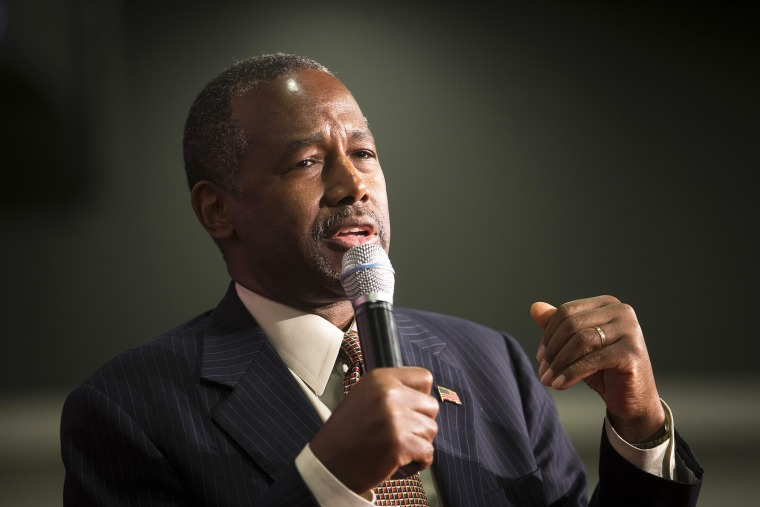 Republican presidential candidate Ben Carson speaks during a campaign rally at the Sharonville Convention Center, Sept. 22, 2015, in Cincinnati, Ohio. (Photo by John Minchillo/AP)
