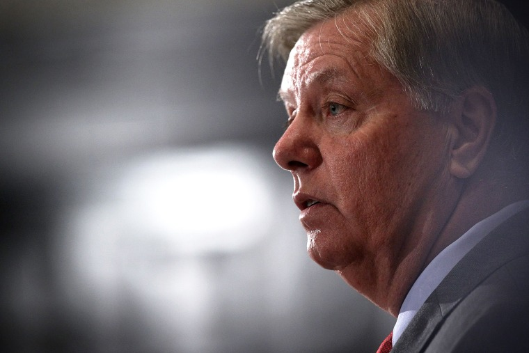 Republican Presidential hopeful and U.S. Senator Lindsey Graham (R-SC) speaks at an event at the National Press Club on Sept. 8, 2015 in Washington, D.C. (Photo by Alex Wong/Getty)