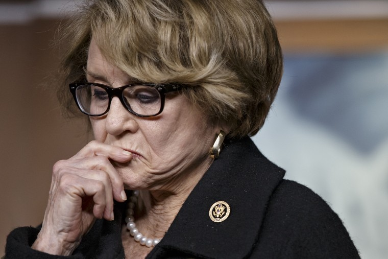 Rep. Louise Slaughter, D-N.Y., pauses during a news conference on Capitol Hill in Washington, D.C., Jan. 21, 2015. (Photo by J. Scott Applewhite/AP)