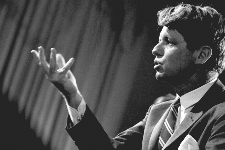 Senator Robert F. Kennedy holds a news conference on May 5, 1967. (Photo by CBS Photo Archive/Getty)