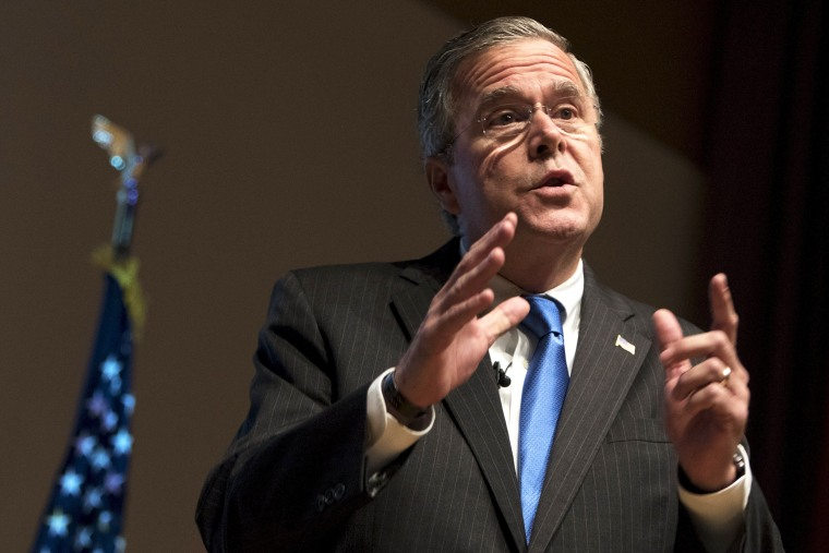 U.S. Republican presidential candidate Jeb Bush speaks at the Greater Des Moines Partnership Iowa Caucus Consortium candidate forum in Des Moines, Iowa, Oct. 8, 2015. (Photo by Scott Morgan/Reuters)