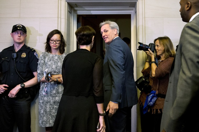 House Majority Leader Kevin McCarthy of Calif. and his wife Judy McCarthy enter a House Republican caucus vote on its nominee to replace House Speaker John Boehner, Oct. 8, 2015, on Capitol Hill in Washington. (Photo by Jacquelyn Martin/AP)