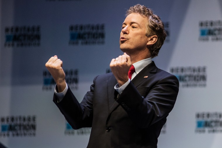 U.S. Sen. Rand Paul (R-KY) gestures as he speaks to voters at the Heritage Action Presidential Candidate Forum Sept. 18, 2015 in Greenville, S.C. (Photo by Sean Rayford/Getty)