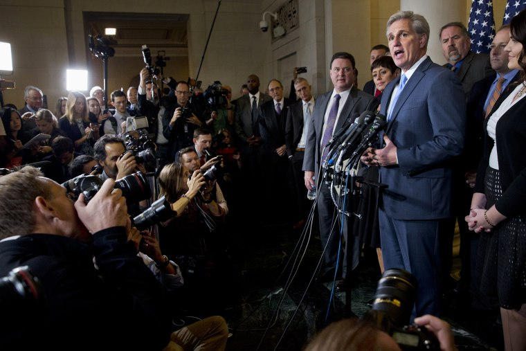 Majority Leader Kevin McCarthy of Calif. answers a question during a news conference on Capitol Hill in Washington, Oct. 8, 2015, after stepping down as a nominee for House Speaker to replace John Boehner. (Photo by Jacquelyn Martin/AP)