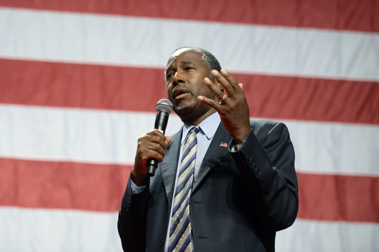 Republican presidential candidate Ben Carson speaks during a campaign rally at the Anaheim Convention Center, Sept. 9, 2015 in Anaheim, Calif. (Photo by Kevork Djansezian/Getty)