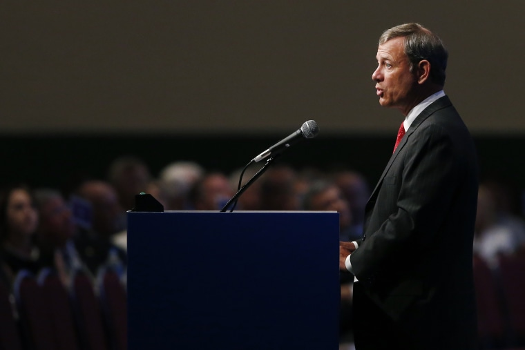 Supreme Court Chief Justice John Roberts speaks at the American Bar Association's annual meeting in Boston, Aug. 11, 2014. (Photo by Elise Amendola/AP)