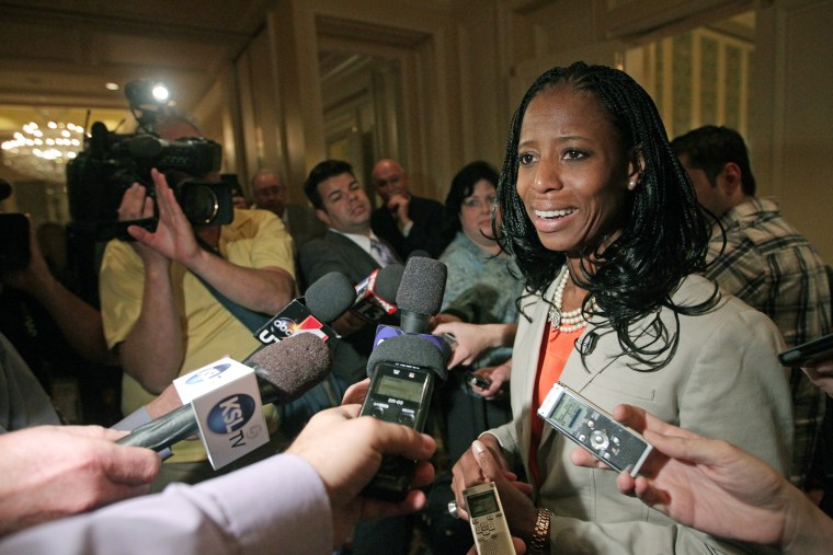 Republican Mia Love candidate for Utah's 4th Congressional District responds to questions from the media following the annual conference of the Utah Taxpayers Association, May 20, 2014, in Salt Lake City. (Photo by Rick Bowmer/AP)