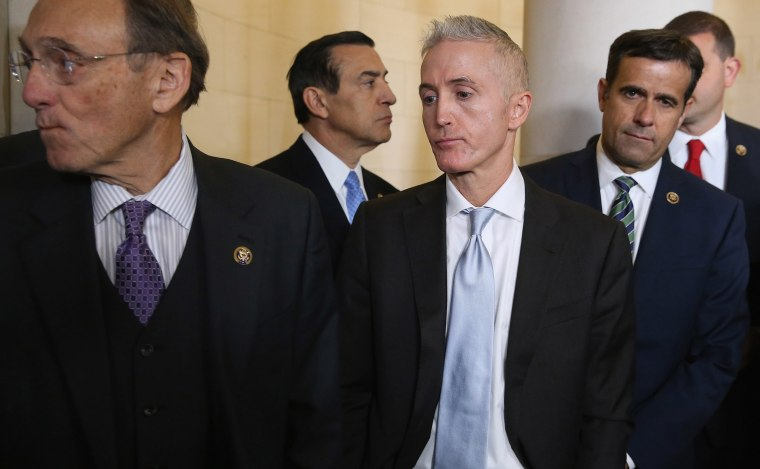 Republican members of the House and House Select Committee on Benghazi Chairman Trey Gowdy react after the election for the Speaker of the House was thrown into chaos on Capitol Hill, Oct. 8, 2015. (Photo by Chip Somodevilla/Getty)
