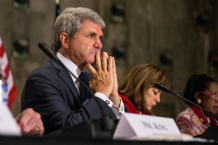 Rep Michael McCaul (R-TX 10th District), Chairman of the U.S. House of Representatives Committee on Homeland Security, leads a hearing at the National September 11 Memorial and Museum on Sept. 8, 2015 in New York City. (Photo by Andrew Burton/Getty)