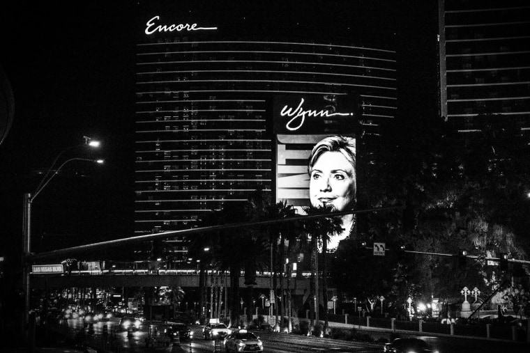 A billboard showing a picture of Democratic Presidential candidate Hillary Clinton advertising the upcoming Democratic Presidential debate is seen at the Wynn Las Vegas resort and casino on Oct. 12, 2015 in Las Vegas, Nev.