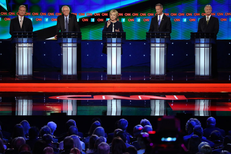 The Democratic presidential candidates participate in a debate held by CNN, Oct. 13, 2015 in Las Vegas, Nev. (Pool photo by Josh Haner)