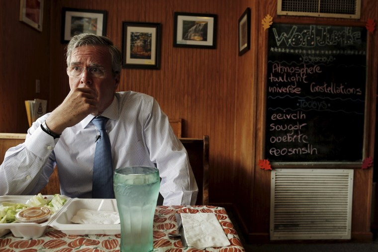 U.S. Republican presidential candidate Jeb Bush listens to a question during an interview at Nonie's Restaurant in Peterborough, NH., Oct. 13, 2015. (Photo by Brian Snyder/Reuters)