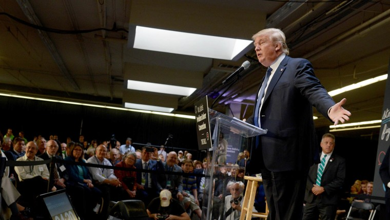 Republican Presidential candidate Donald Trump speaks at the No Labels Problem Solver convention Oct. 12, 2015 in Manchester, NH. (Photo by Darren McCollester/Getty)