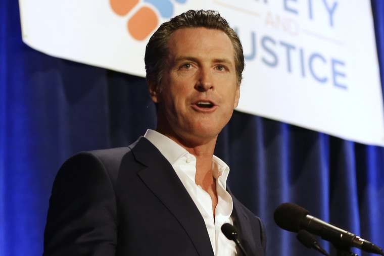 In this April 20, 2015, file photo, Lt. Gov. Gavin Newsom speaks at the Californians for Safety and Justice conference in Sacramento, Calif.(Photo by Rich Pedroncelli/File/AP)