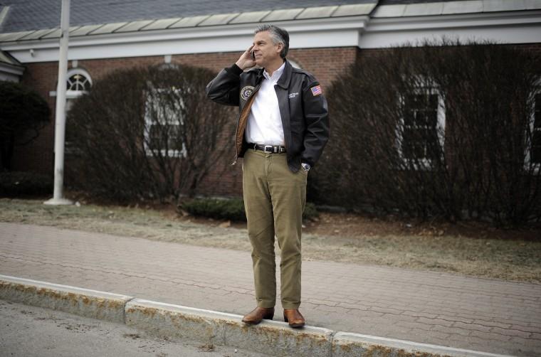 Former Utah Gov. Jon Huntsman talks on the phone on the side of the road on Jan. 09, 2012 in Newport, N.H. (Photo by Charles Ommanney/Getty)