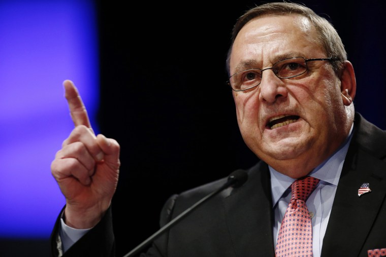 In this Jan. 7, 2015 file photo, Republican Gov. Paul LePage delivers his inauguration address in Augusta, Maine. (Photo by Robert F. Bukaty/AP)