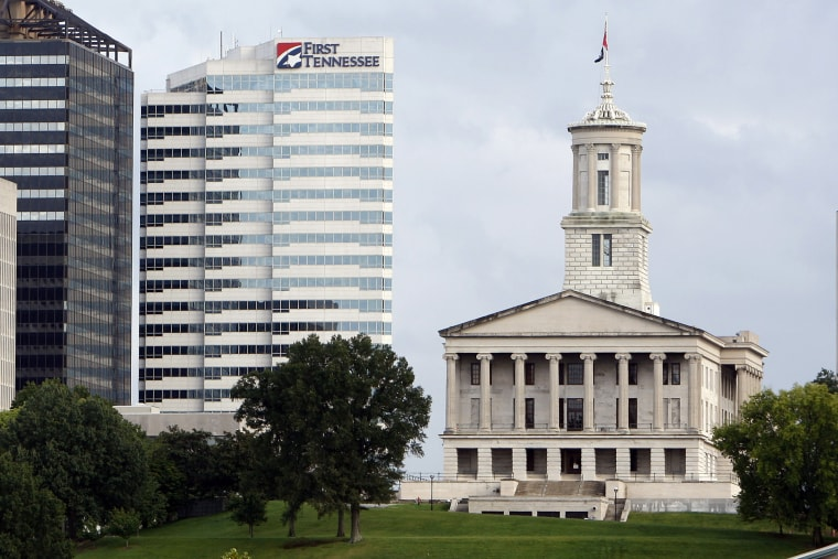 The Tennessee State Capitol stands apart from newer buildings in Nashville, Tenn., Saturday, Sept. 19, 2009.