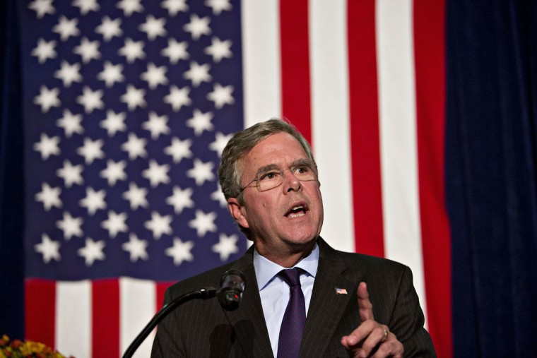 Jeb Bush, former Governor of Florida and 2016 Republican presidential candidate, speaks during the Scott County Republican party Ronald Reagan Dinner in Davenport, Ia., Oct. 6, 2015. (Photo by Daniel Acker/Bloomberg/Getty)