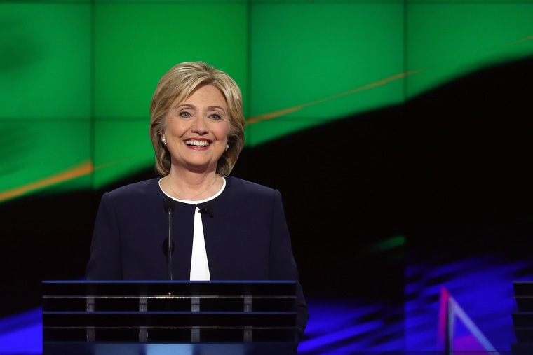 Democratic presidential candidate Hillary Clinton takes part in a presidential debate sponsored by CNN and Facebook at Wynn Las Vegas on Oct. 13, 2015 in Las Vegas, Nev. (Photo by Joe Raedle/Getty)