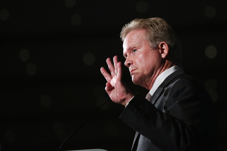 Democratic presidential candidate and former Virginia Senator Jim Webb speaks to guests at the Iowa Democratic Party's Hall of Fame Dinner on July 17, 2015 in Cedar Rapids, Iowa. (Photo by Scott Olson/Getty)