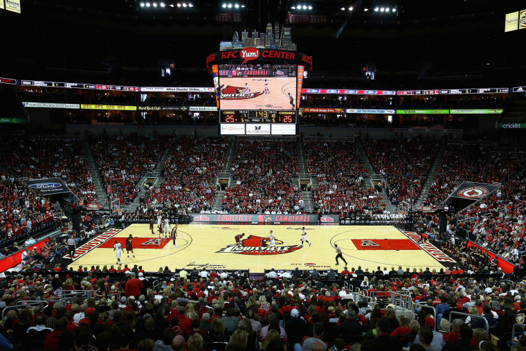 A general view of the Louisville Cardinals basketball game against in Louisville, Ky. (Photo by Andy Lyons/Getty)