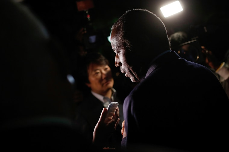 Republican presidential candidate Dr. Ben Carson answers questions from members of the press after delivering brief remarks to supporters on Oct. 16, 2015 in Alexandria, Va. (Photo by Win McNamee/Getty)