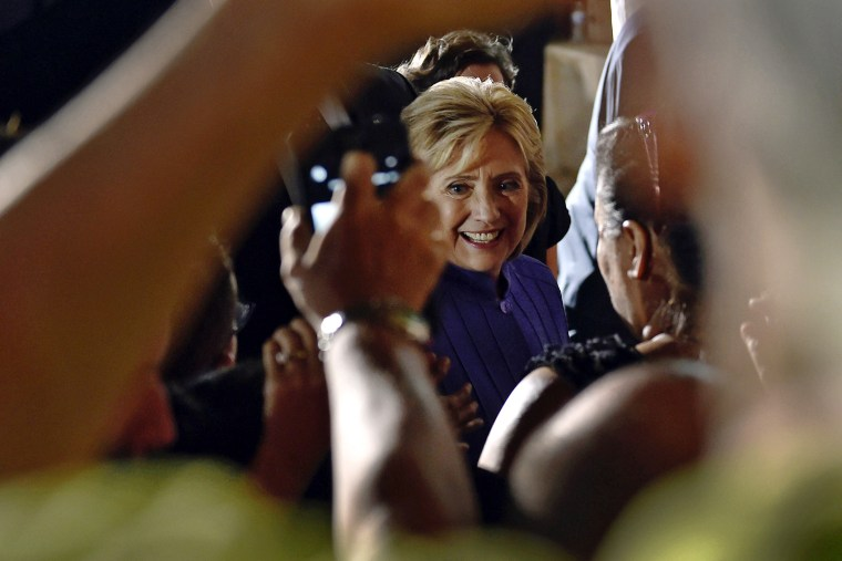 Democratic U.S. presidential candidate Hillary Clinton greets supporters after speaking at a campaign rally at the Springs Preserve in Las Vegas, Nev., Oct. 14, 2015. (Photo by David Becker/Reuters)