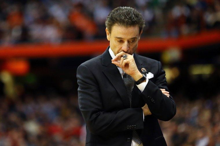 Head coach Rick Pitino of the Louisville Cardinals reacts in the first half of a game during the 2015 NCAA Men's Basketball Tournament on March 27, 2015 in Syracuse, N.Y. (Photo by Maddie Meyer/Getty)