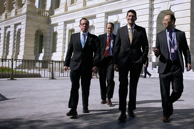 U.S. Rep. Paul Ryan (R-WI) is followed by members of the media as he leaves after a meeting with Republican Study Committee, Oct. 20, 2015 at the Capitol in Washington, DC. (Photo by Alex Wong/Getty)
