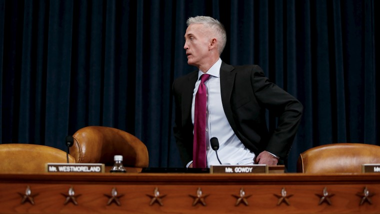 Committee Chairman, U.S. Representative Trey Gowdy arrives before Hillary Clinton testifies before his House Select Committee on Benghazi about the attack on a U.S. diplomatic mission in Benghazi, Libya, Oct. 22, 2015. (Photo by Jonathan Ernst/Reuters)