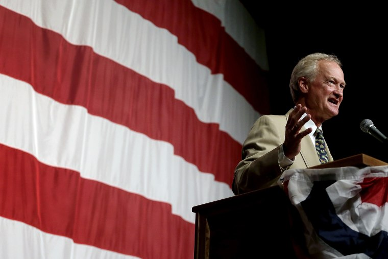 Democratic presidential candidate, former Rhode Island Gov. Lincoln Chafee, speaks at the Iowa Democratic Wing Ding at the Surf Ballroom, Aug. 14, 2015, in Clear Lake, Iowa. (Photo Charlie Riedel/AP)