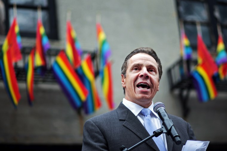 New York Governor Andrew Cuomo speaks before the Pride Parade on June 28, 2015 in New York City. (Photo by Yana Paskova/Getty)
