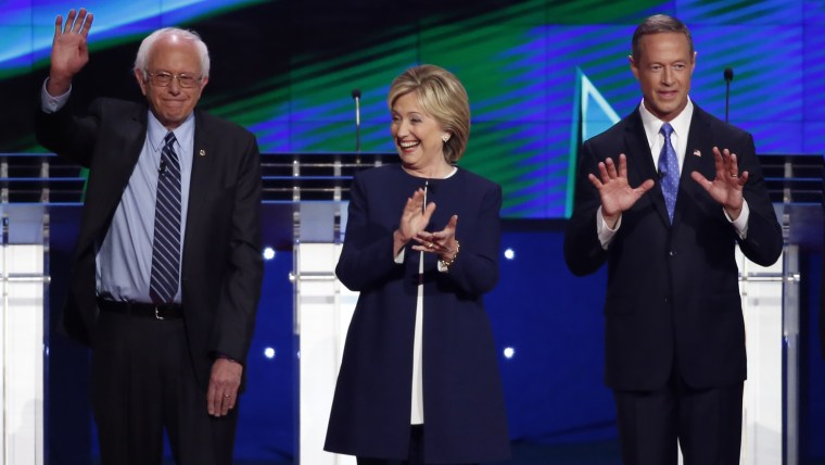 Democratic presidential candidates Bernie Sanders, Hillary Clinton and Martin O'Malley at the first official Democratic candidates debate of the 2016 presidential campaign in Las Vegas, Oct. 13, 2015. (Photo by Lucy Nicholson/Reuters)