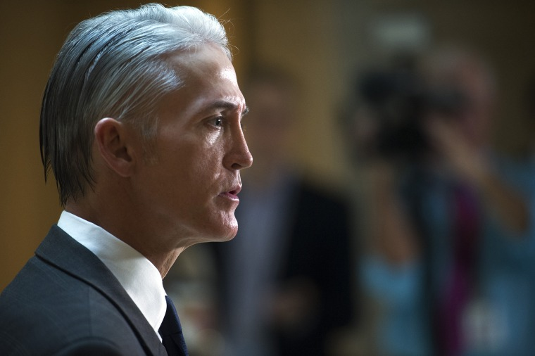 House Select Committee on Benghazi Chairman Trey Gowdy talks with the media before hearing testimony from Jake Sullivan, former Hillary Clinton aide during her tenure as Secretary of State, on Capitol Hill, Sep. 4, 2015. (Photo by Cliff Owen/AP)