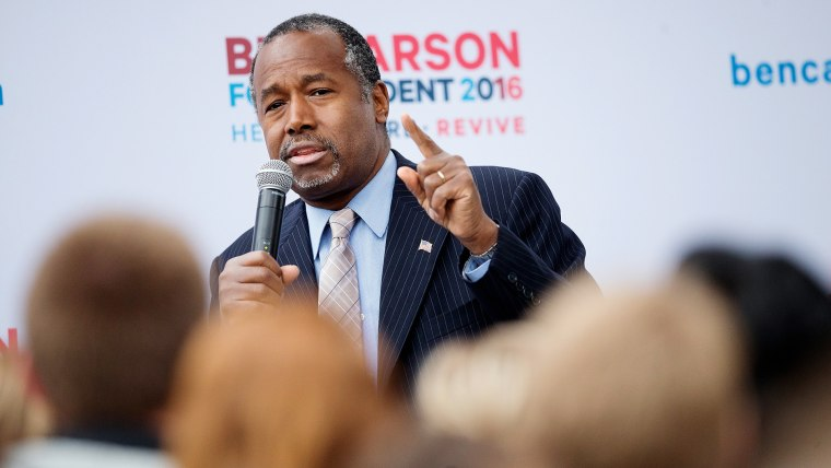 Republican presidential candidate Ben Carson speaks outside the Alpha Gamma Rho house during a campaign stop at Iowa State University on Oct. 24, 2015 in Ames, Iowa. (Photo by Scott Olson/Getty)