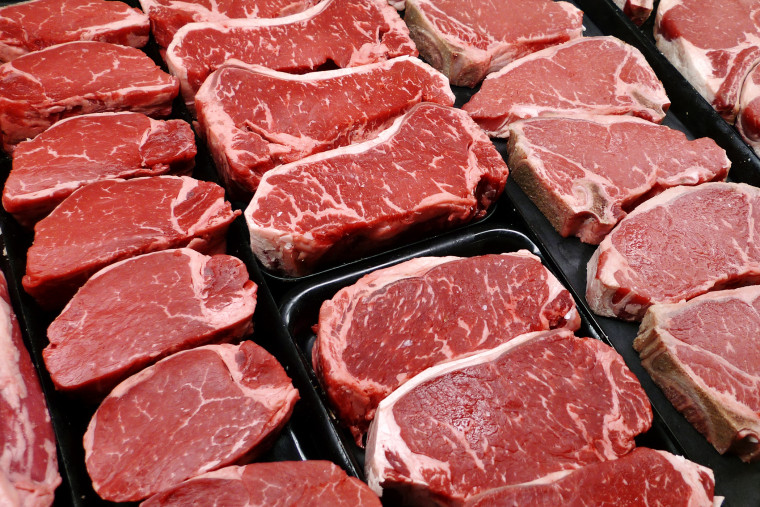 In this Jan. 18, 2010 file photo, steaks and other beef products are displayed for sale at a grocery store in McLean, Va. (Photo by J. Scott Applewhite/File/AP)