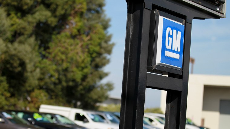 The General Motors logo is displayed. (Photo by Justin Sullivan/Getty)