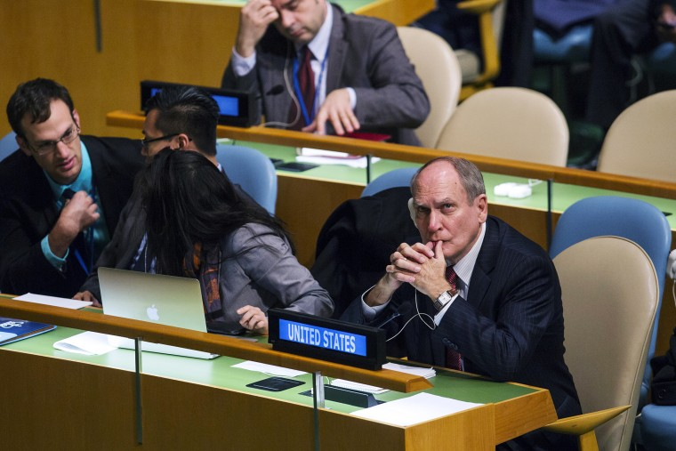 Ambassador Ronald Godard of the United States waits for a United Nations General Assembly vote at the United Nations headquarters in New York, Oct. 27, 2015. (Photo by Lucas Jackson/Reuters)