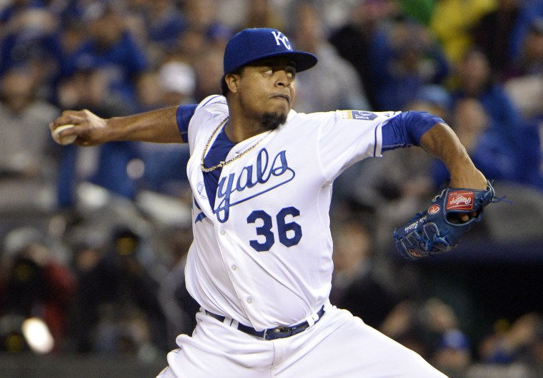 Kansas City Royals starting pitcher Edinson Volquez throws a pitch against the New York Mets in the first inning in game one of the 2015 World Series at Kauffman Stadium, Oct. 27, 2015 in Kansas City, Mo. (Photo by John Rieger/USA TODAY Sports/Reuters)