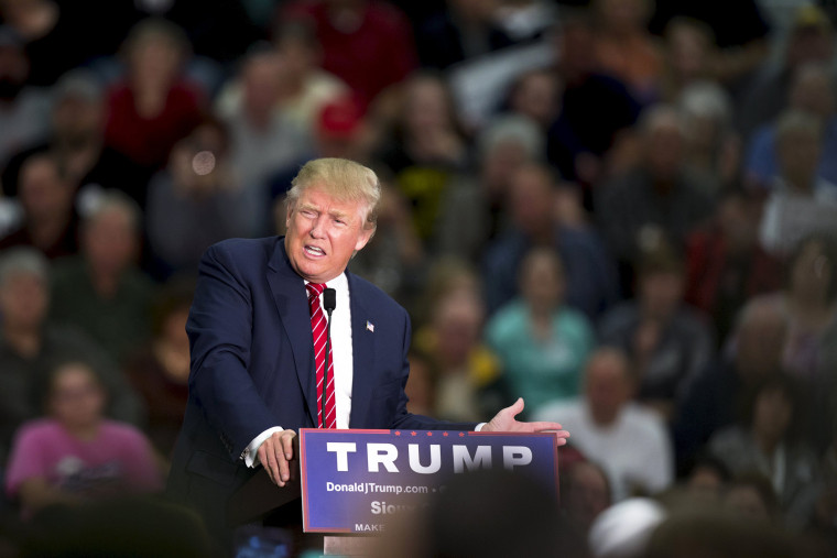 Republican U.S. presidential candidate Donald Trump speaks during a campaign rally at West High School in Sioux City, Iowa, Oct. 27, 2015. (Photo by Scott Morgan/Reuters)