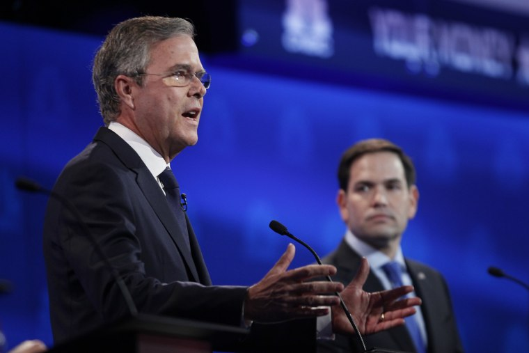 Republican U.S. presidential candidate former Governor Jeb Bush speaks as U.S. Senator Marco Rubio looks on at the 2016 U.S. Republican presidential candidates debate held by CNBC in Boulder, Colo, Oct. 28, 2015. (Photo by Rick Wilking/Reuters)