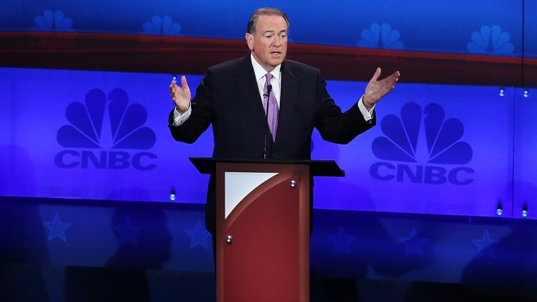 Presidential candidate Ohio Governor Mike Huckabee speaks in the CNBC Republican Presidential Debate, Oct. 28, 2015 in Boulder, Colo. (Photo by Andrew Burton/Getty)
