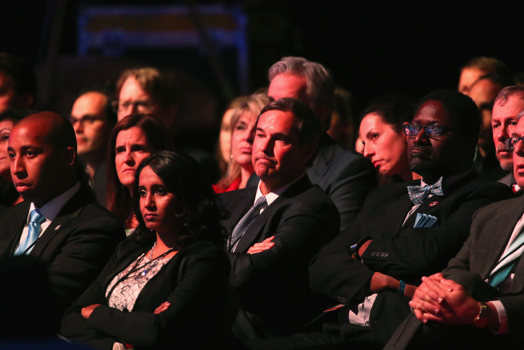 Audience members watch the CNBC Republican Presidential Debate at University of Colorado's Coors Events Center Oct. 28, 2015 in Boulder, Colo. (Photo by Justin Sullivan/Getty)